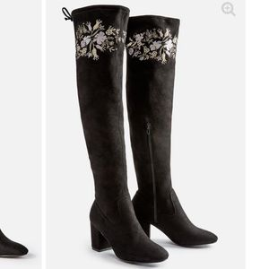 Embroidered thigh high boots